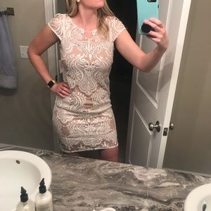 Tan and white lace dress